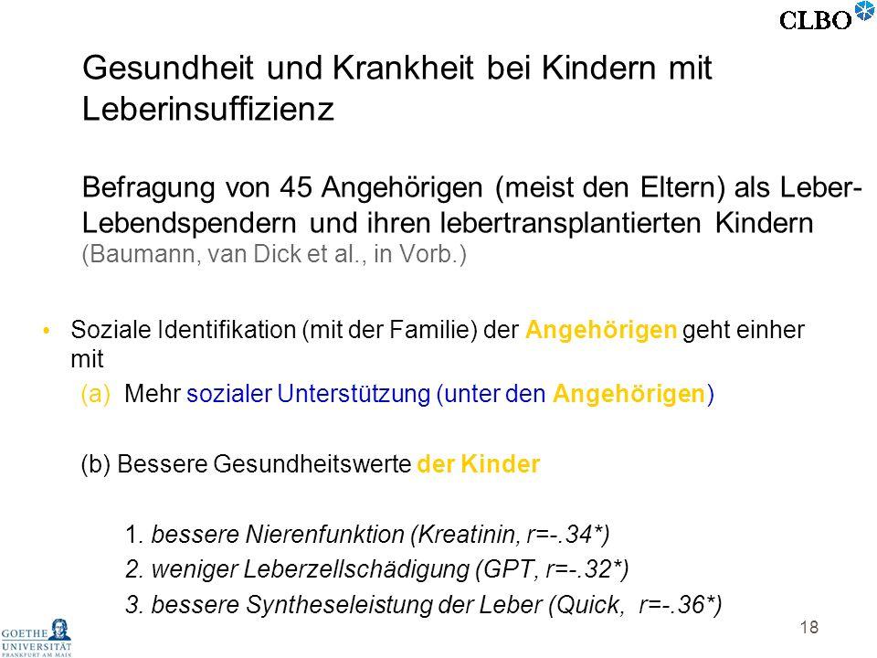 Gesundheit und Krankheit bei Kindern mit Leberinsuffizienz Befragung von 45 Angehörigen (meist den Eltern) als Leber-Lebendspendern und ihren lebertransplantierten Kindern (Baumann, van Dick et al., in Vorb.)