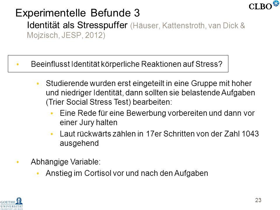 Experimentelle Befunde 3 Identität als Stresspuffer (Häuser, Kattenstroth, van Dick & Mojzisch, JESP, 2012)
