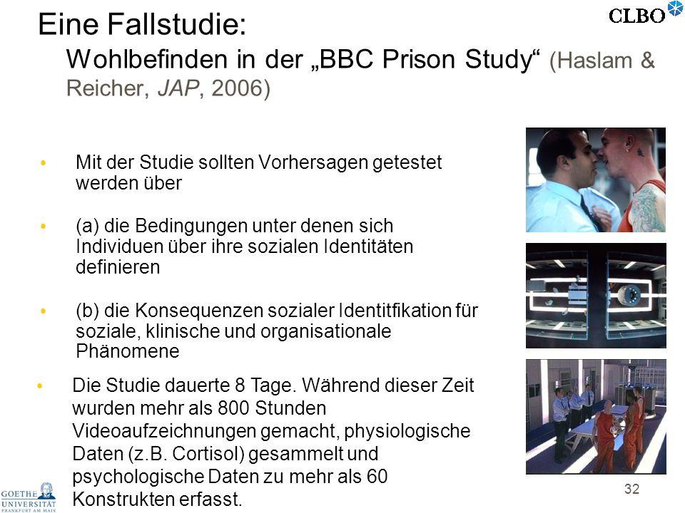 """Eine Fallstudie: Wohlbefinden in der """"BBC Prison Study (Haslam & Reicher, JAP, 2006)"""