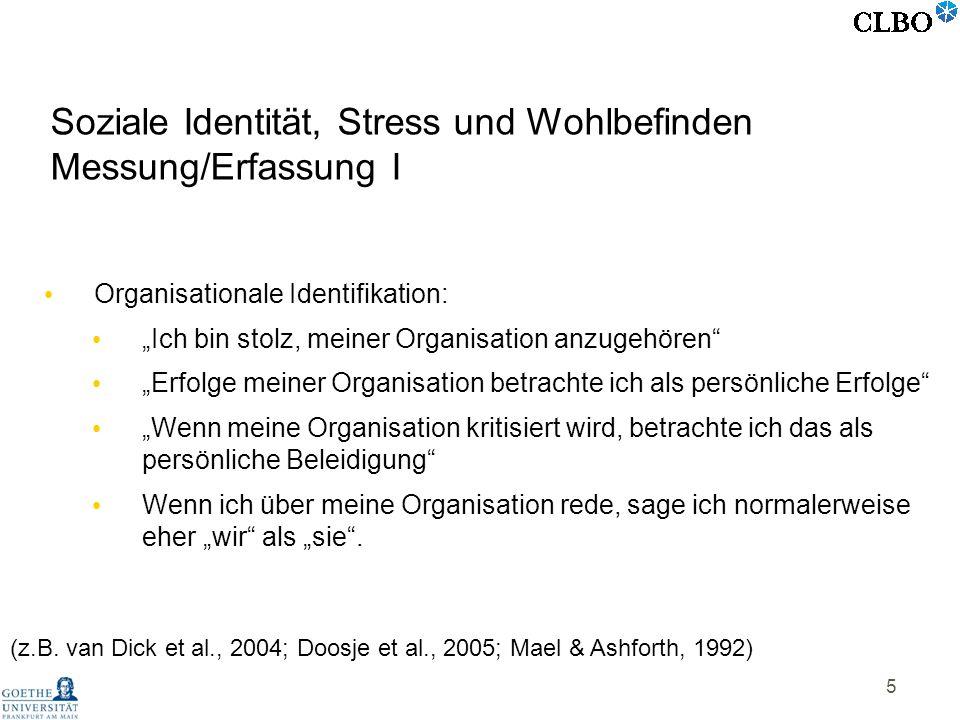 Soziale Identität, Stress und Wohlbefinden Messung/Erfassung I