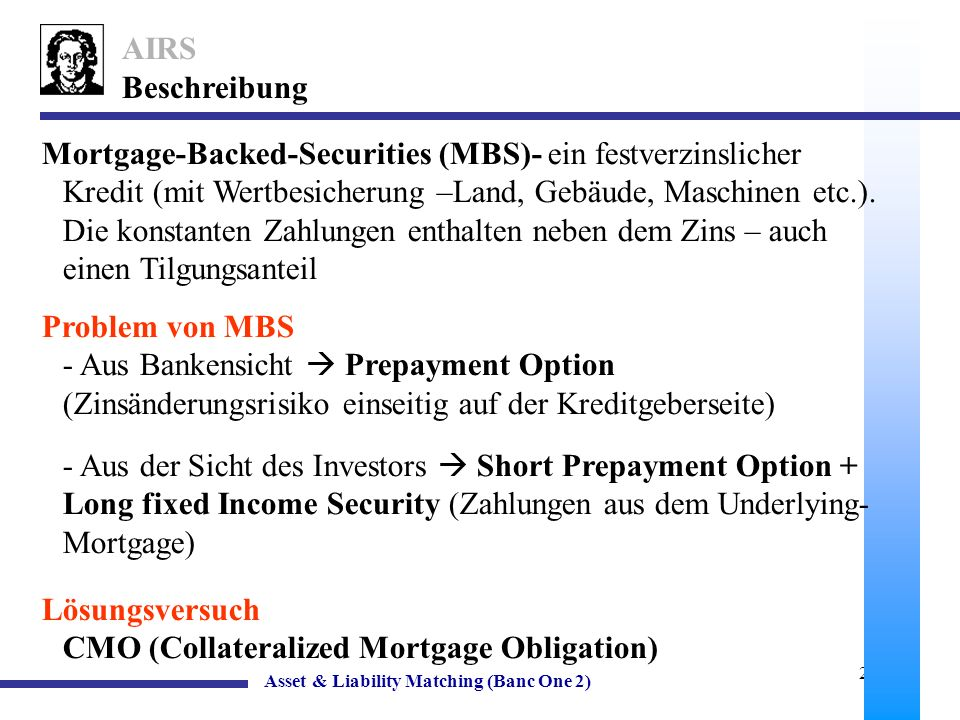 Lösungsversuch CMO (Collateralized Mortgage Obligation)
