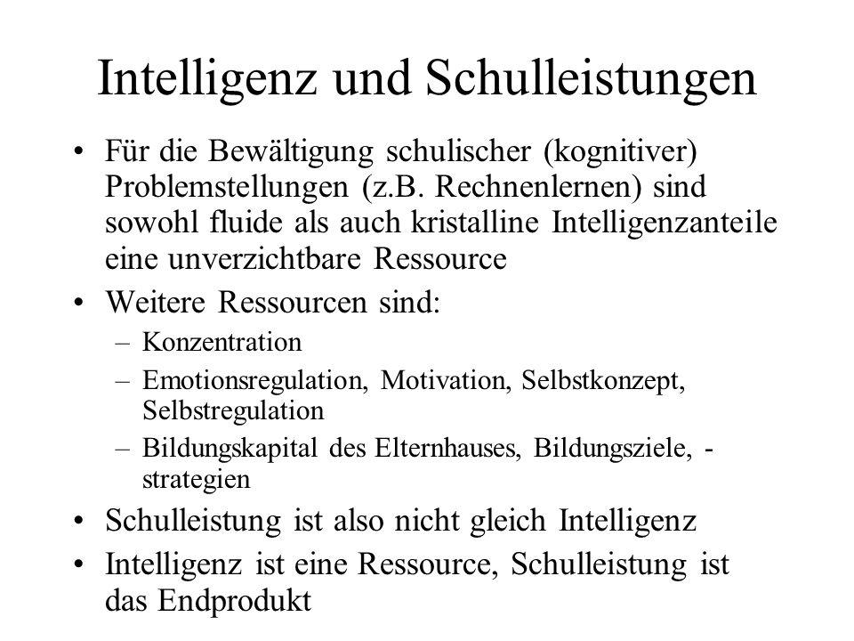 Intelligenz und Schulleistungen