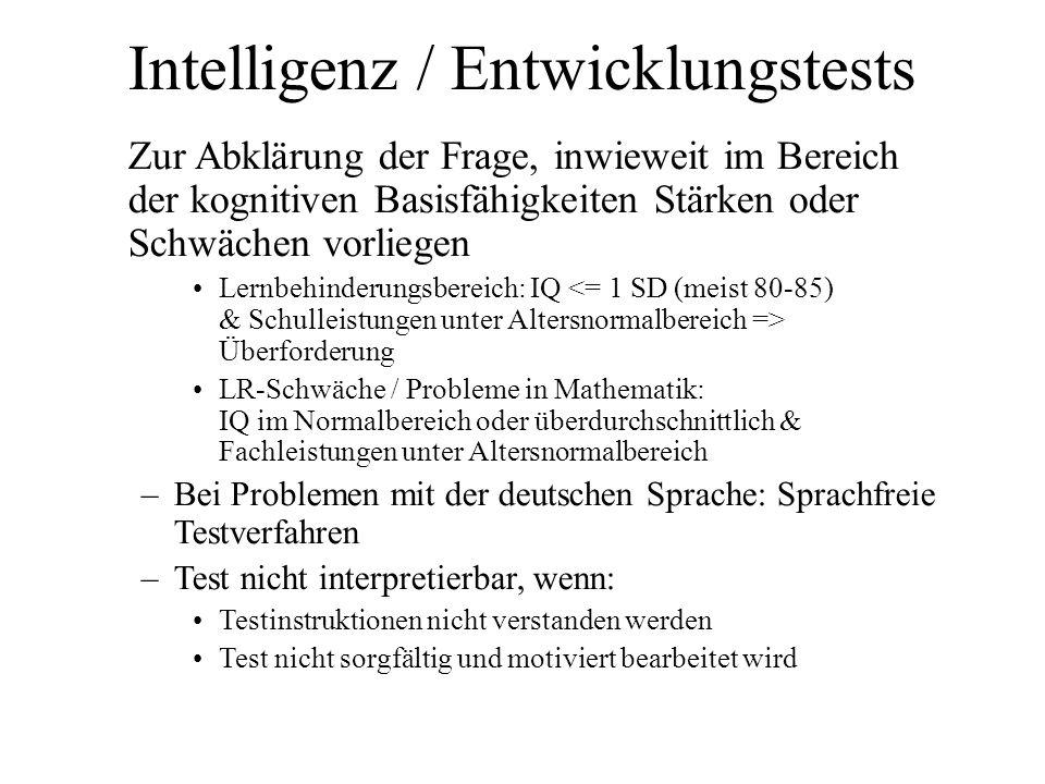 Intelligenz / Entwicklungstests