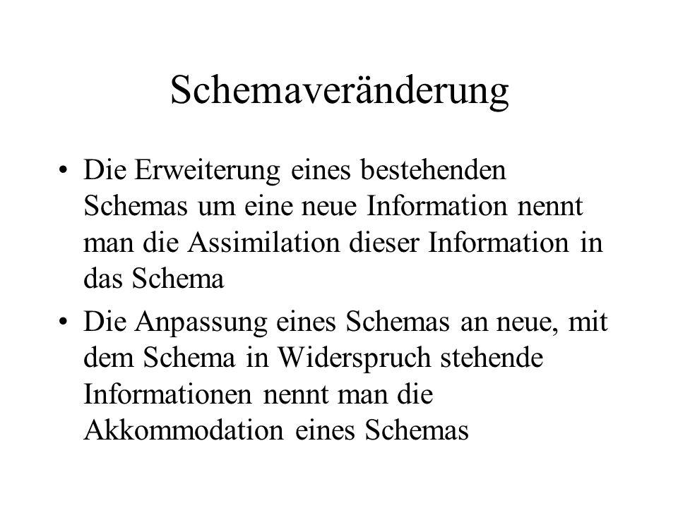 Schemaveränderung Die Erweiterung eines bestehenden Schemas um eine neue Information nennt man die Assimilation dieser Information in das Schema.