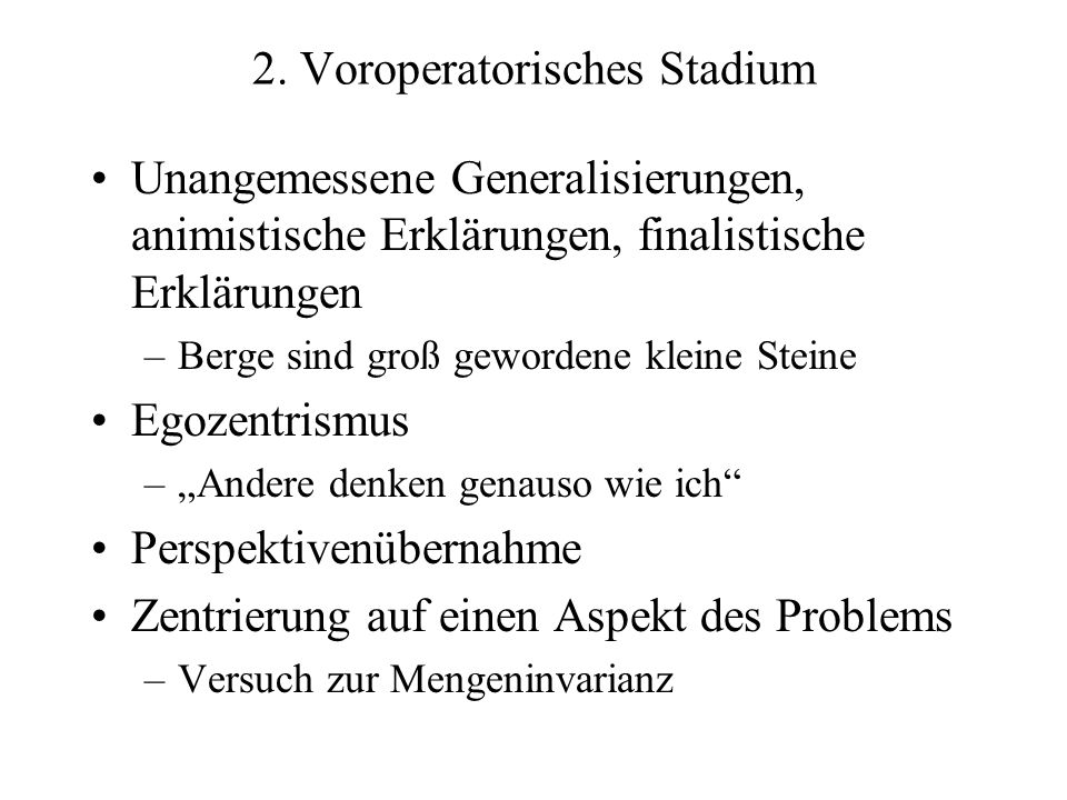 2. Voroperatorisches Stadium