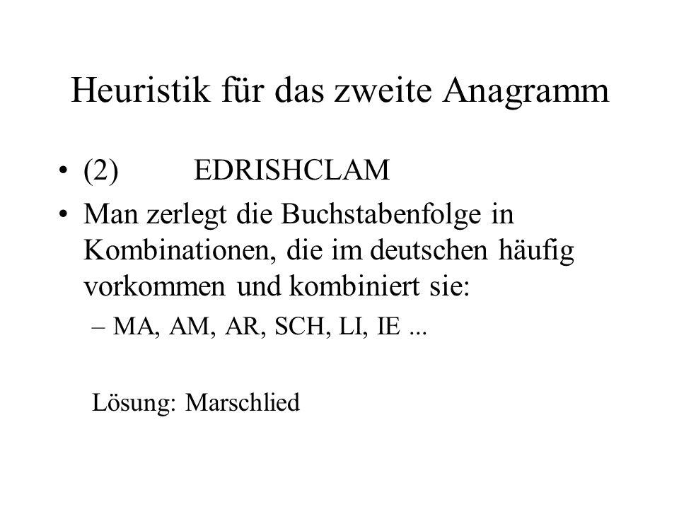 Heuristik für das zweite Anagramm
