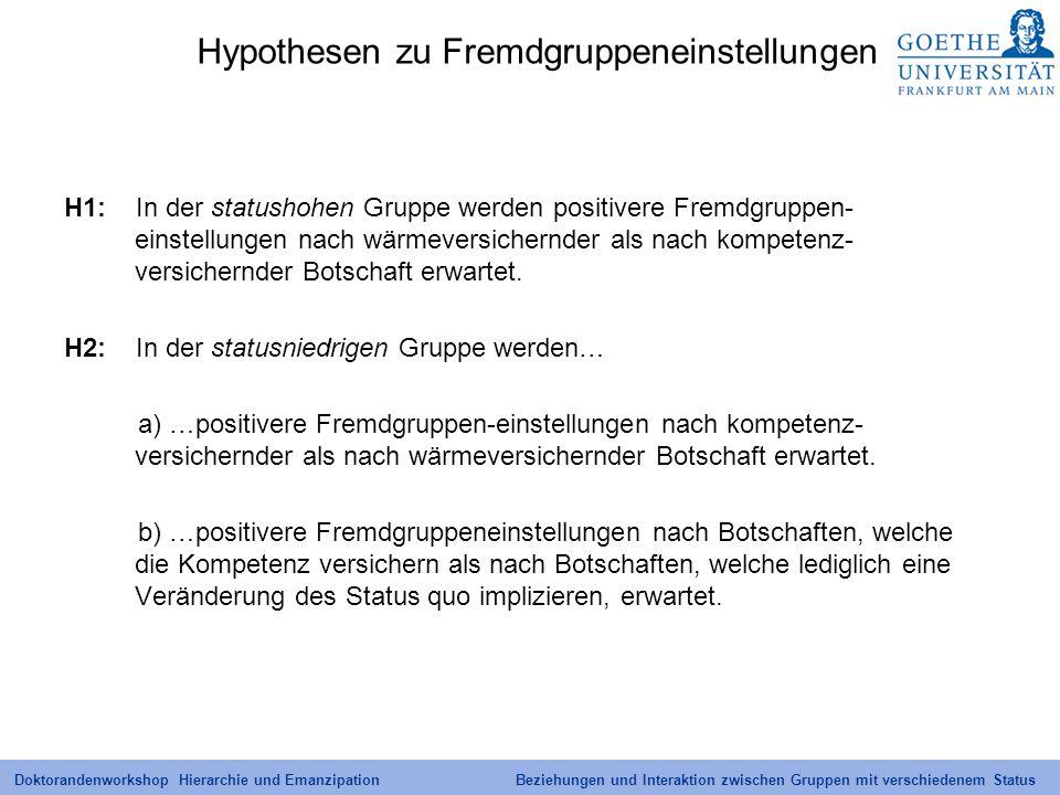 Hypothesen zu Fremdgruppeneinstellungen