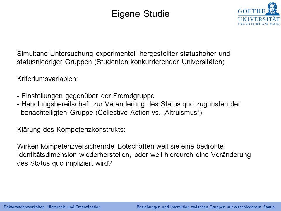 Eigene Studie Simultane Untersuchung experimentell hergestellter statushoher und. statusniedriger Gruppen (Studenten konkurrierender Universitäten).