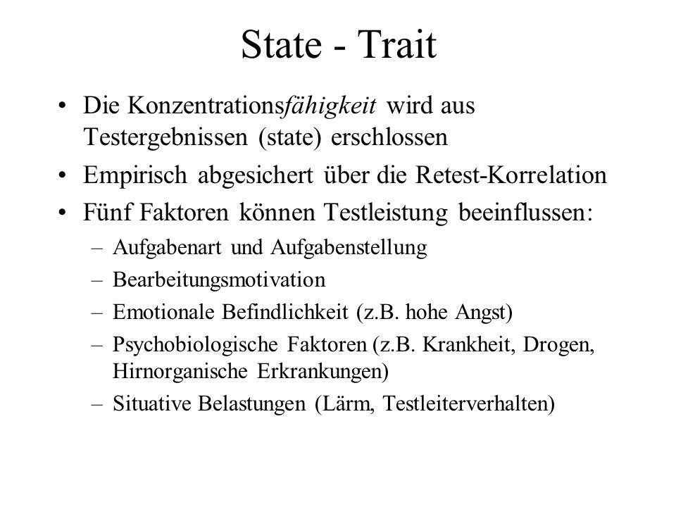 State - Trait Die Konzentrationsfähigkeit wird aus Testergebnissen (state) erschlossen. Empirisch abgesichert über die Retest-Korrelation.