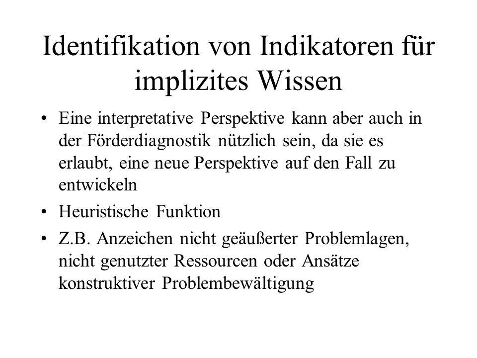 Identifikation von Indikatoren für implizites Wissen