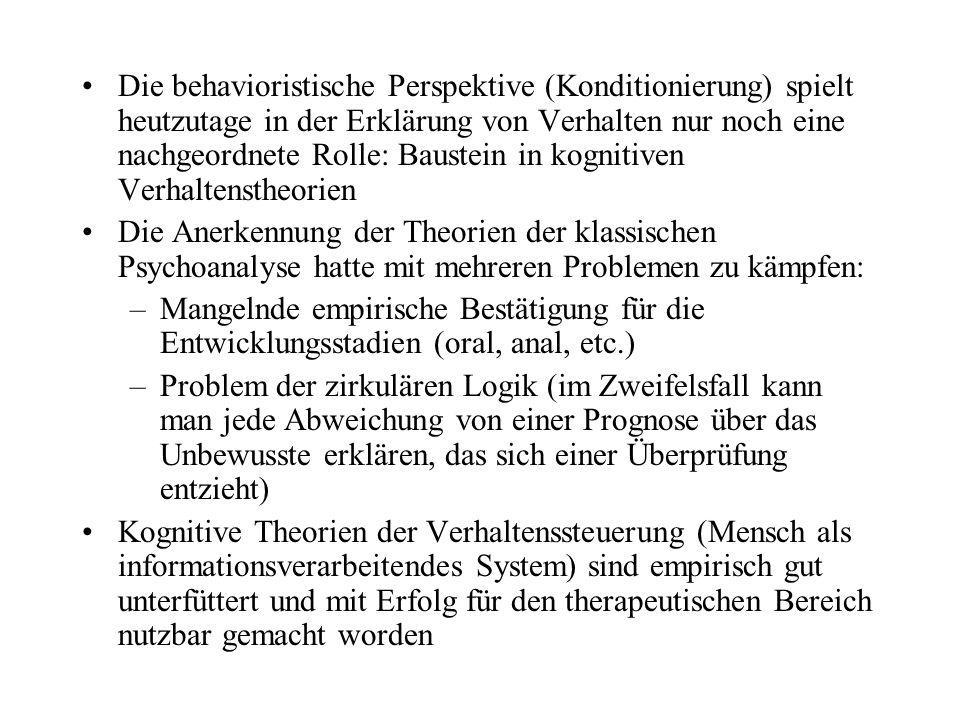 Die behavioristische Perspektive (Konditionierung) spielt heutzutage in der Erklärung von Verhalten nur noch eine nachgeordnete Rolle: Baustein in kognitiven Verhaltenstheorien