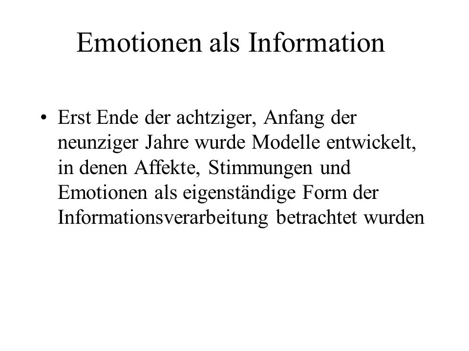 Emotionen als Information