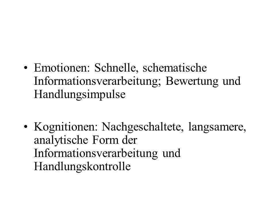 Emotionen: Schnelle, schematische Informationsverarbeitung; Bewertung und Handlungsimpulse