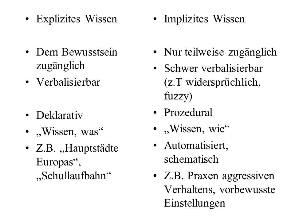 """Explizites Wissen Dem Bewusstsein zugänglich. Verbalisierbar. Deklarativ. """"Wissen, was Z.B. """"Hauptstädte Europas , """"Schullaufbahn"""