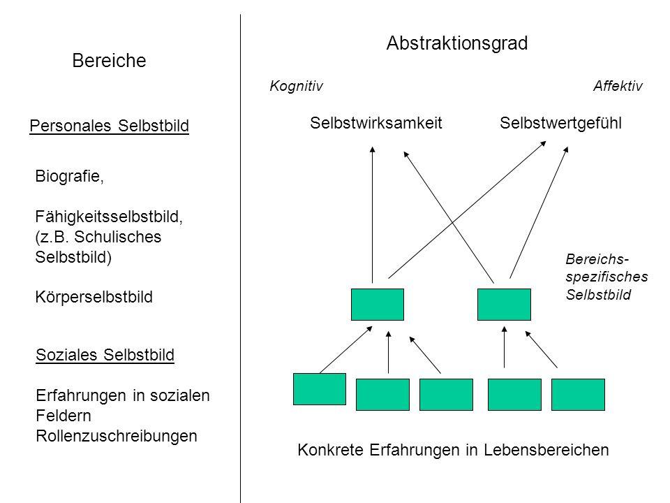 Abstraktionsgrad Bereiche Personales Selbstbild Selbstwirksamkeit