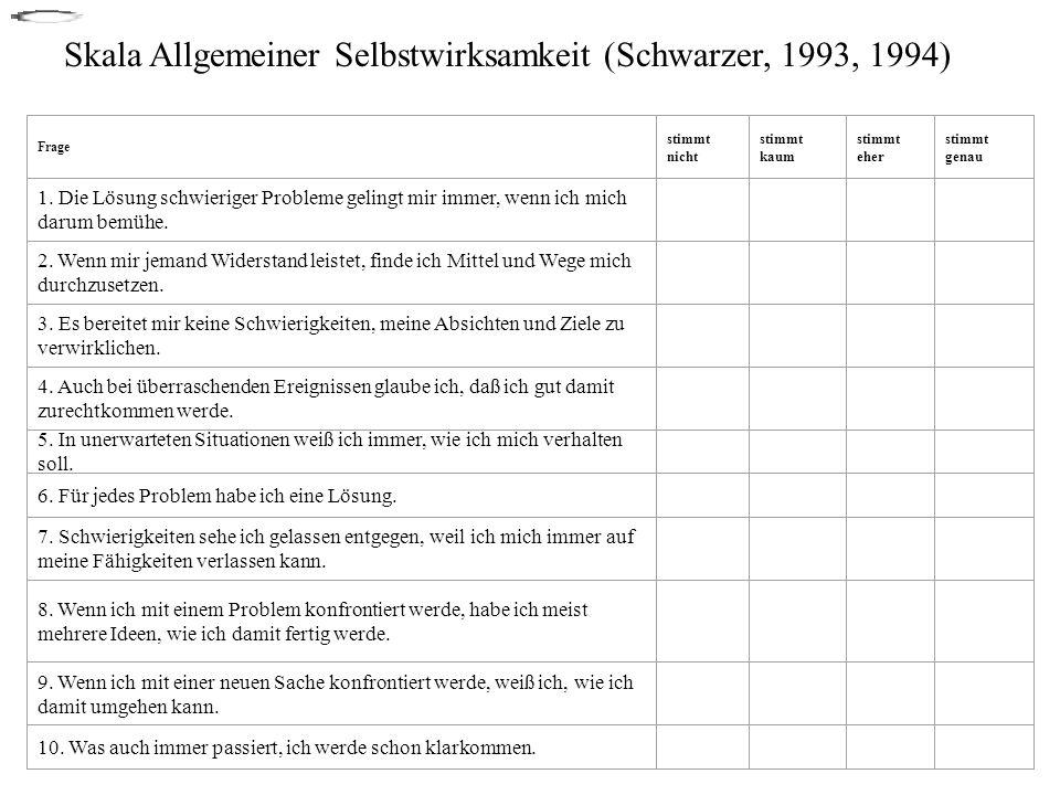 Skala Allgemeiner Selbstwirksamkeit (Schwarzer, 1993, 1994)