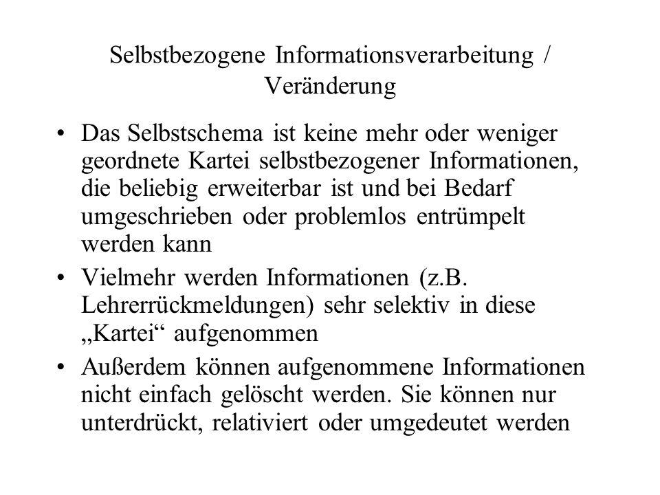 Selbstbezogene Informationsverarbeitung / Veränderung
