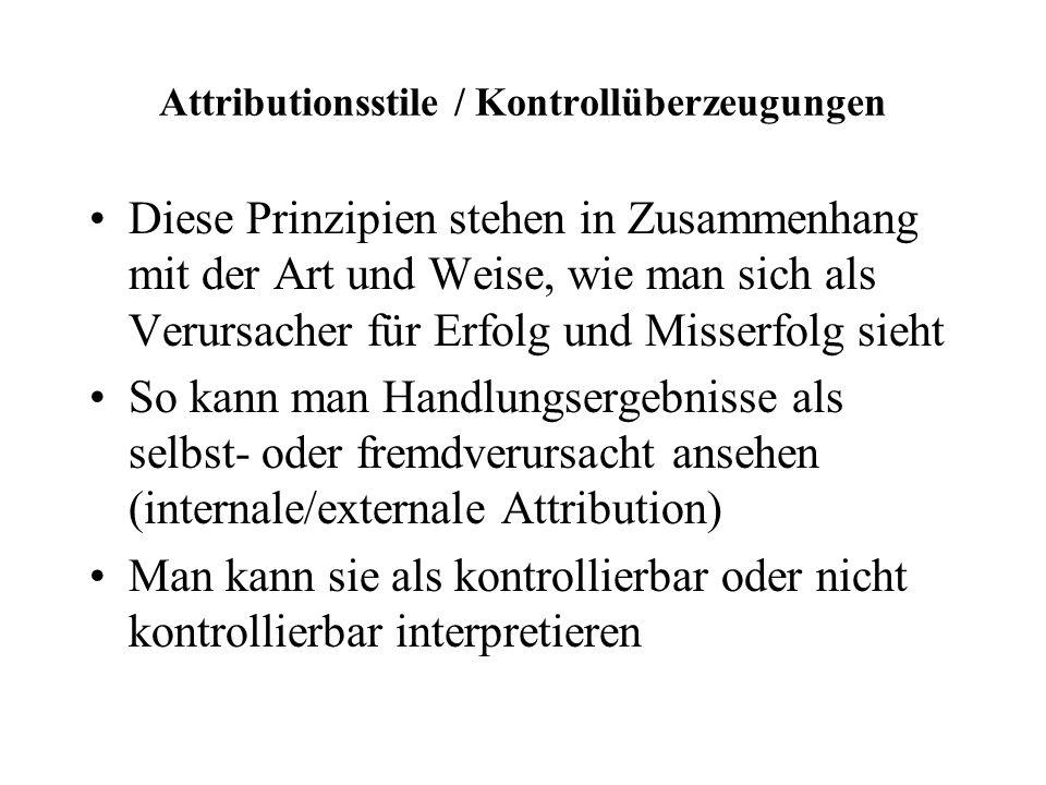 Attributionsstile / Kontrollüberzeugungen