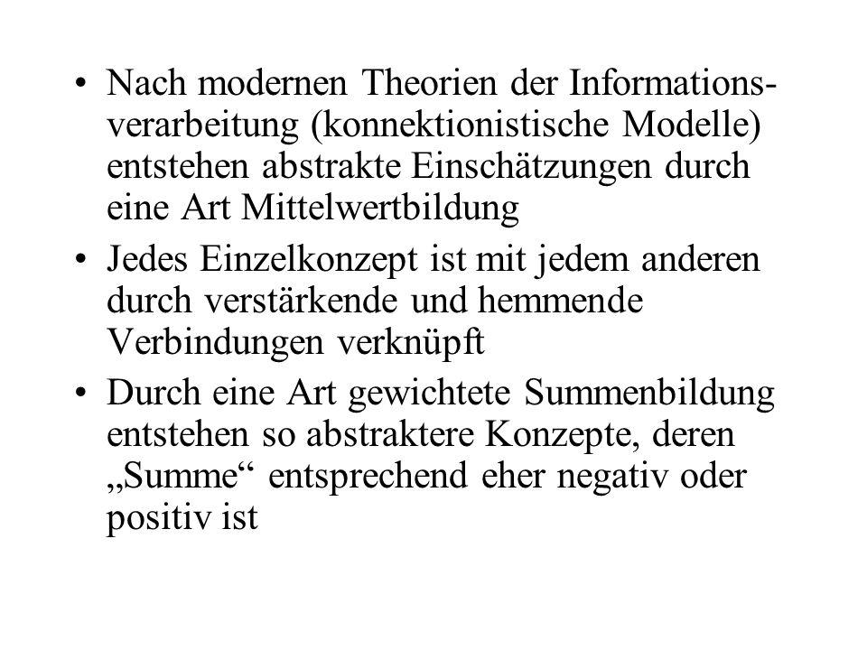 Nach modernen Theorien der Informations-verarbeitung (konnektionistische Modelle) entstehen abstrakte Einschätzungen durch eine Art Mittelwertbildung
