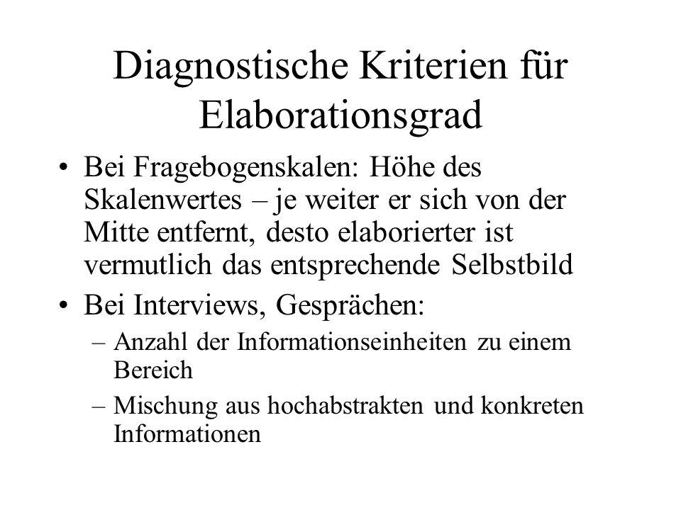Diagnostische Kriterien für Elaborationsgrad