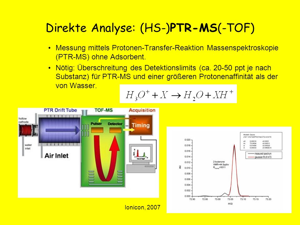 Direkte Analyse: (HS-)PTR-MS(-TOF)