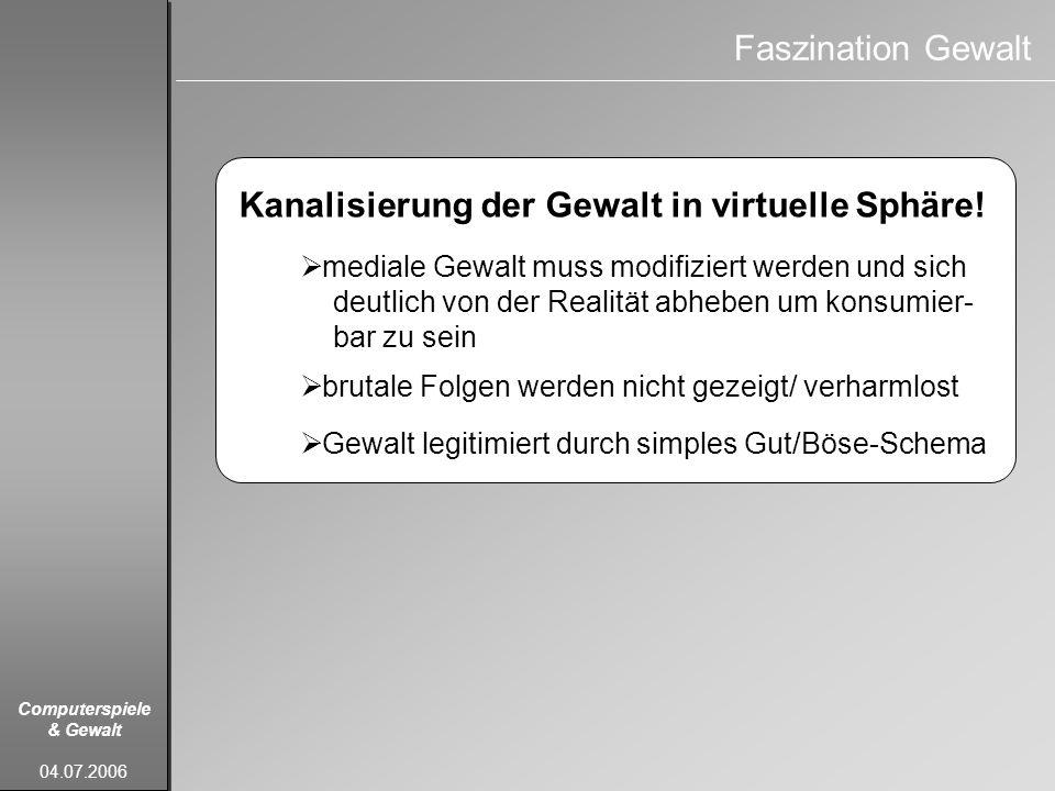 Kanalisierung der Gewalt in virtuelle Sphäre!