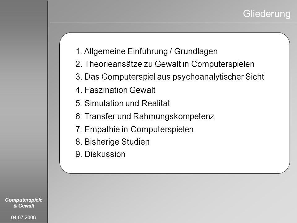 Gliederung 1. Allgemeine Einführung / Grundlagen