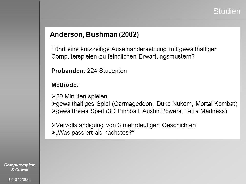 Studien Anderson, Bushman (2002)