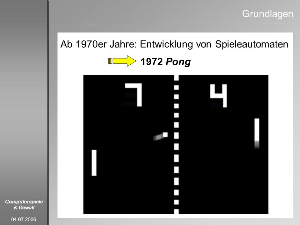 Grundlagen Ab 1970er Jahre: Entwicklung von Spieleautomaten 1972 Pong