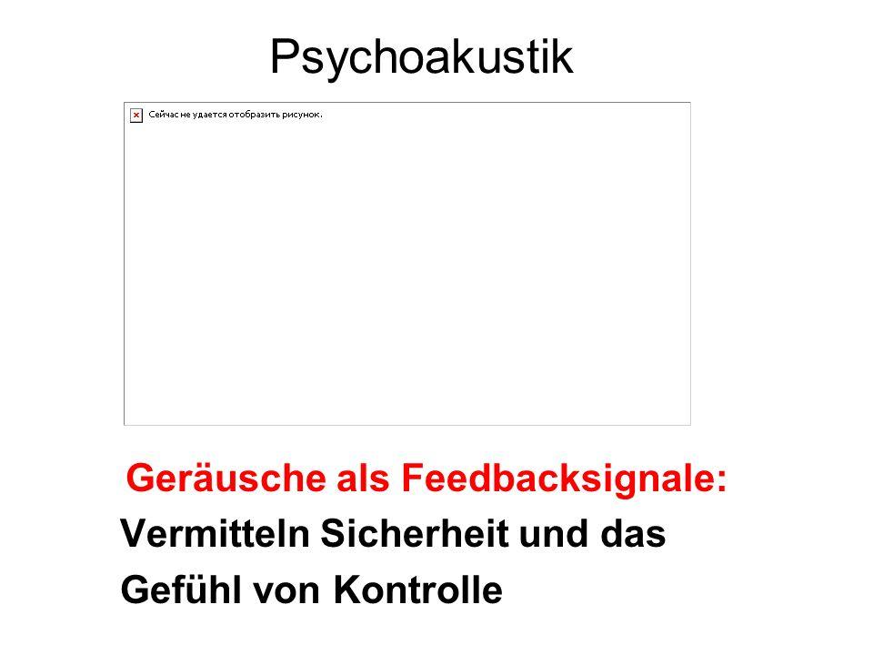 Psychoakustik Geräusche als Feedbacksignale: