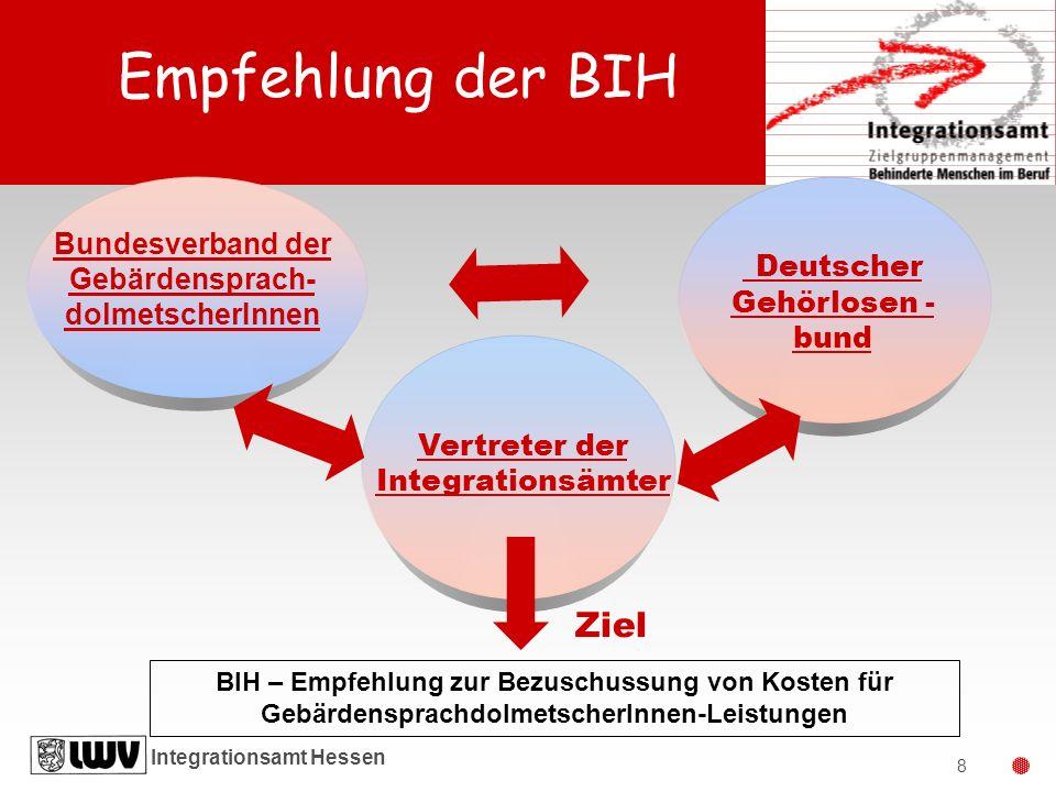 Empfehlung der BIH Deutscher Gehörlosen -bund Ziel Bundesverband der