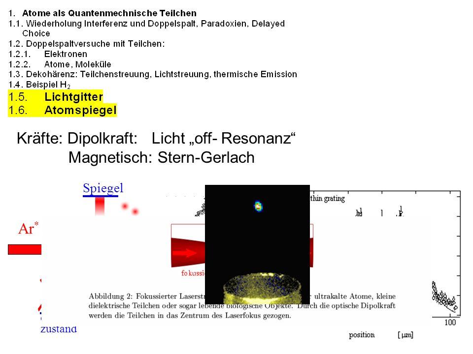 """Kräfte: Dipolkraft: Licht """"off- Resonanz Magnetisch: Stern-Gerlach"""