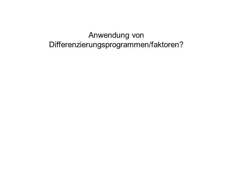 Anwendung von Differenzierungsprogrammen/faktoren