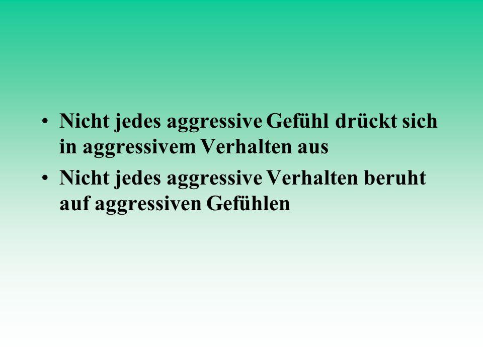 Nicht jedes aggressive Gefühl drückt sich in aggressivem Verhalten aus