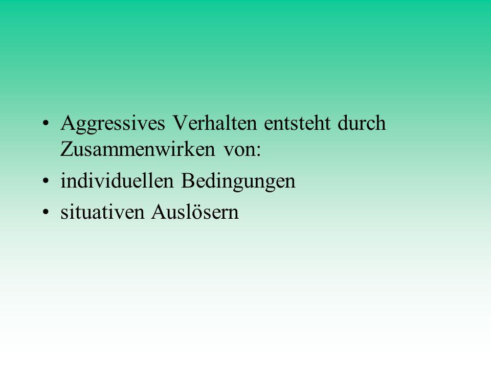 Aggressives Verhalten entsteht durch Zusammenwirken von: