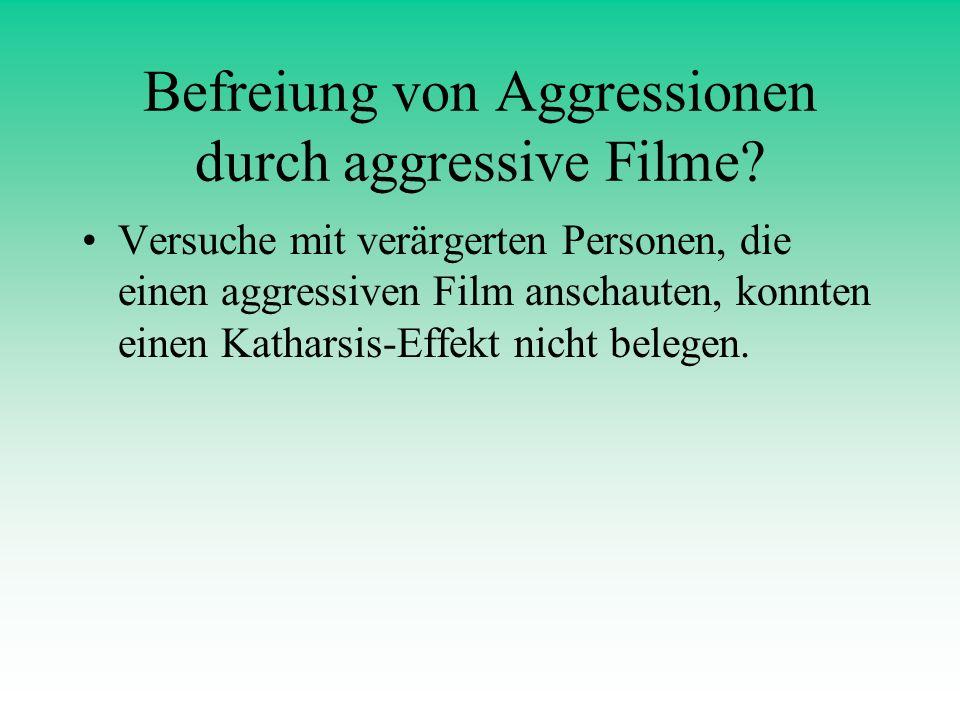 Befreiung von Aggressionen durch aggressive Filme