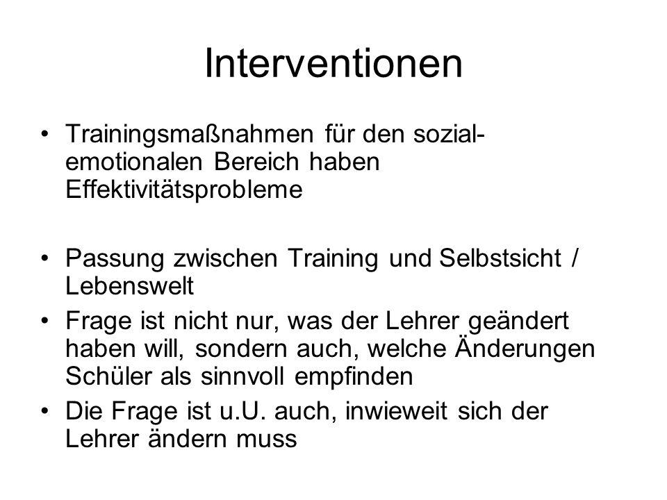 Interventionen Trainingsmaßnahmen für den sozial-emotionalen Bereich haben Effektivitätsprobleme.