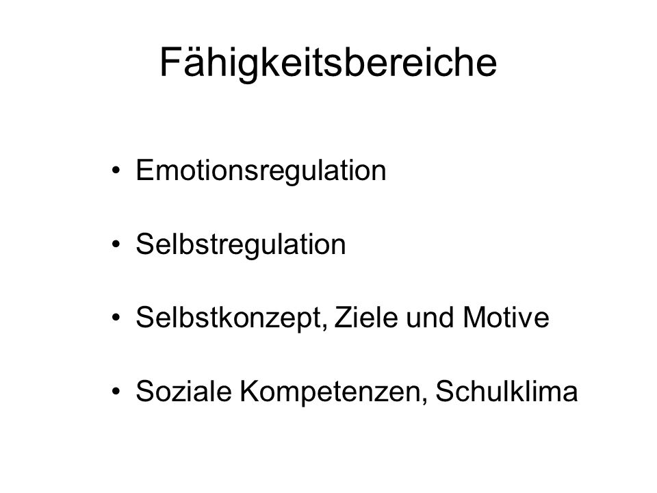 Fähigkeitsbereiche Emotionsregulation Selbstregulation