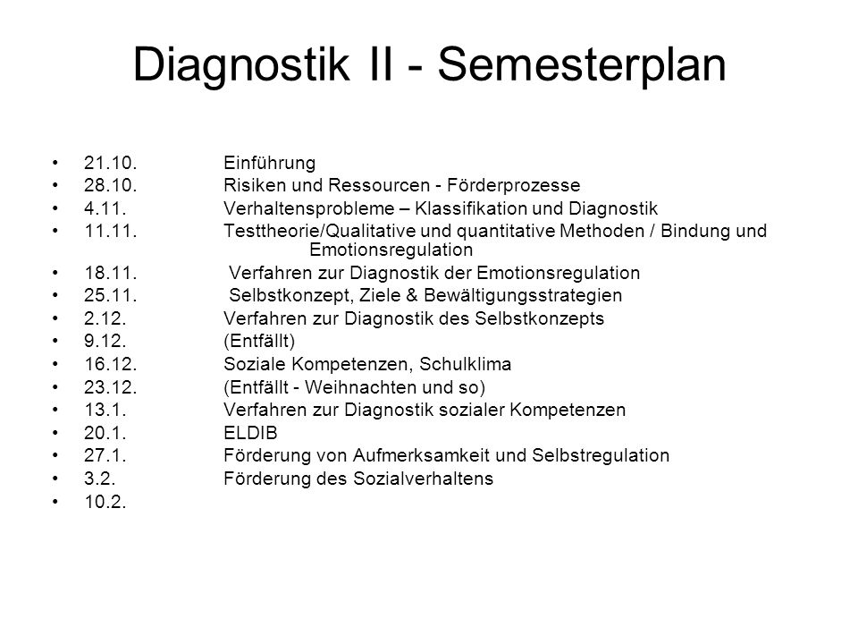 Diagnostik II - Semesterplan
