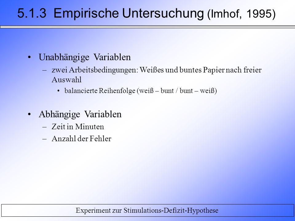 5.1.3 Empirische Untersuchung (Imhof, 1995)