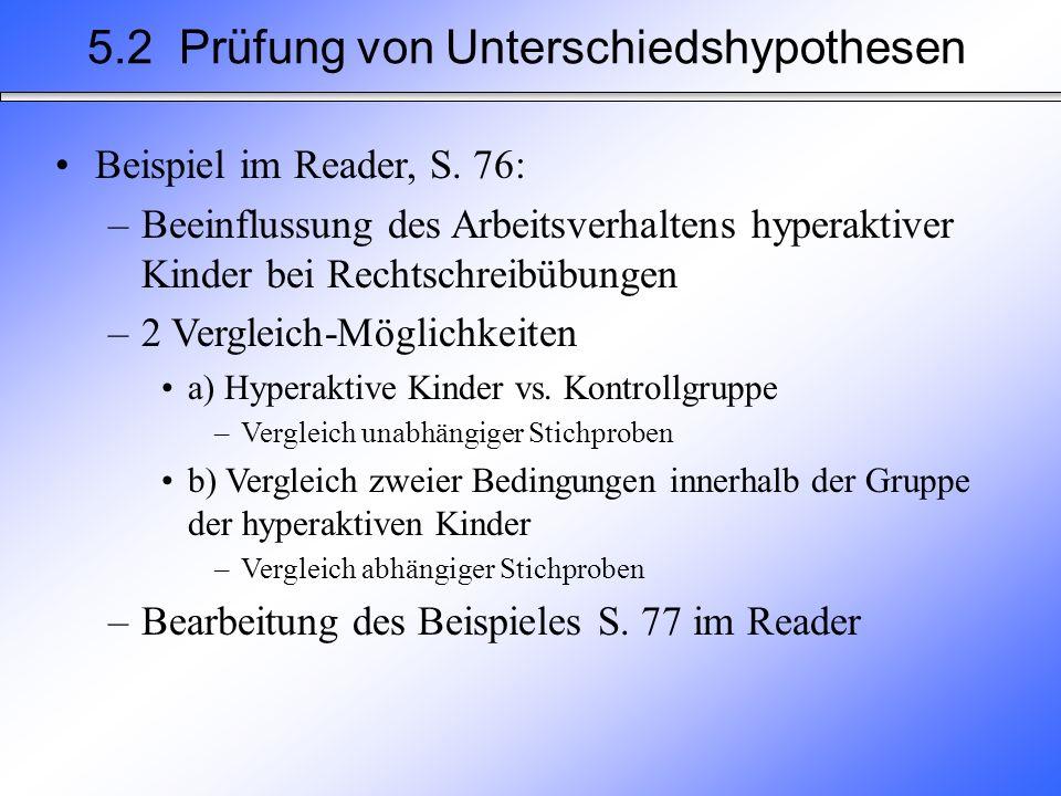 5.2 Prüfung von Unterschiedshypothesen