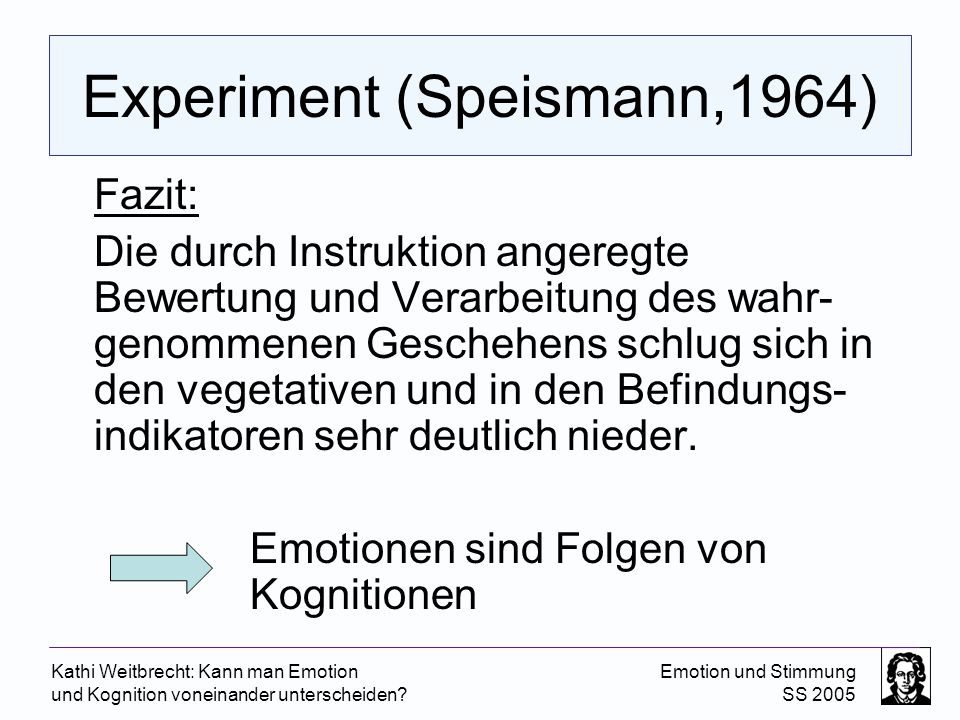 Experiment (Speismann,1964)