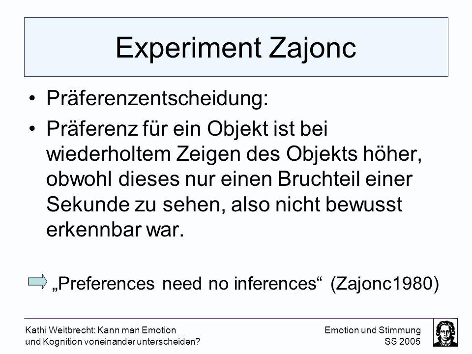 Experiment Zajonc Präferenzentscheidung: