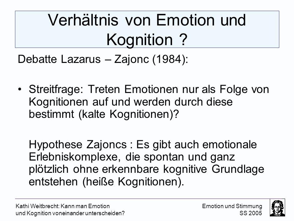 Verhältnis von Emotion und Kognition