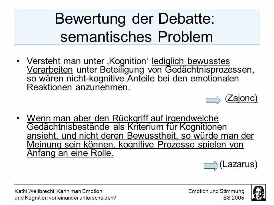 Bewertung der Debatte: semantisches Problem