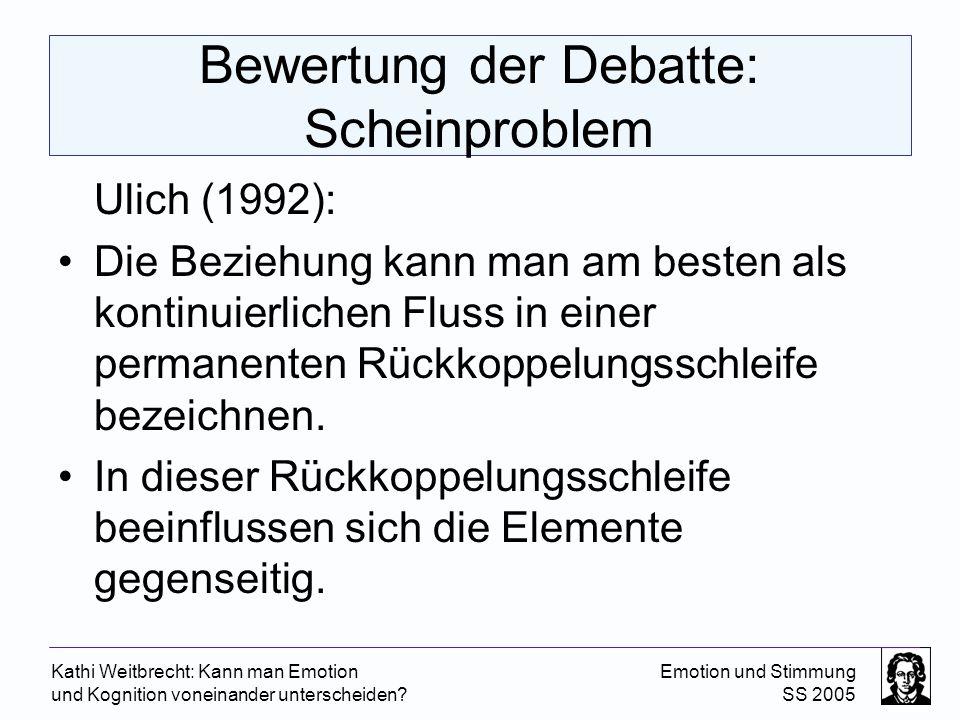 Bewertung der Debatte: Scheinproblem