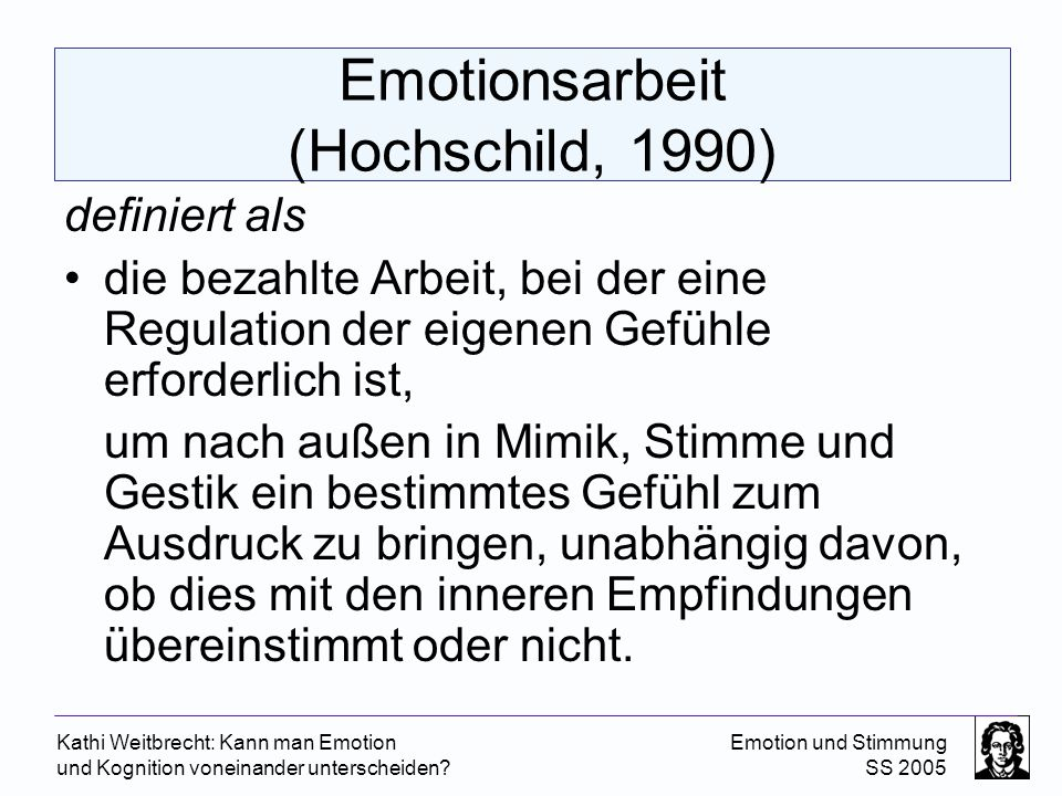 Emotionsarbeit (Hochschild, 1990)