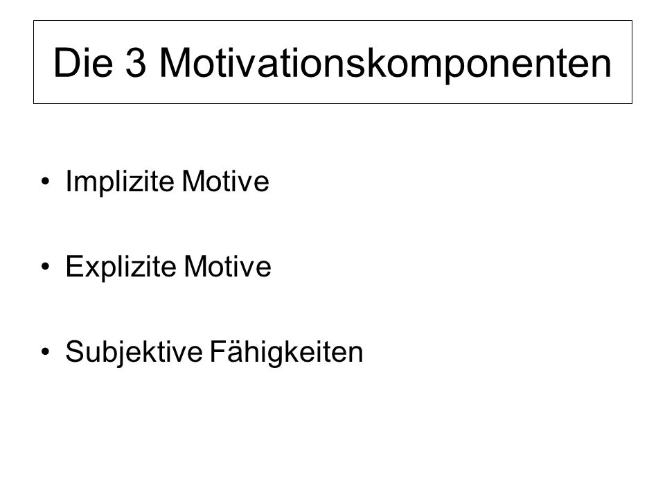 Die 3 Motivationskomponenten