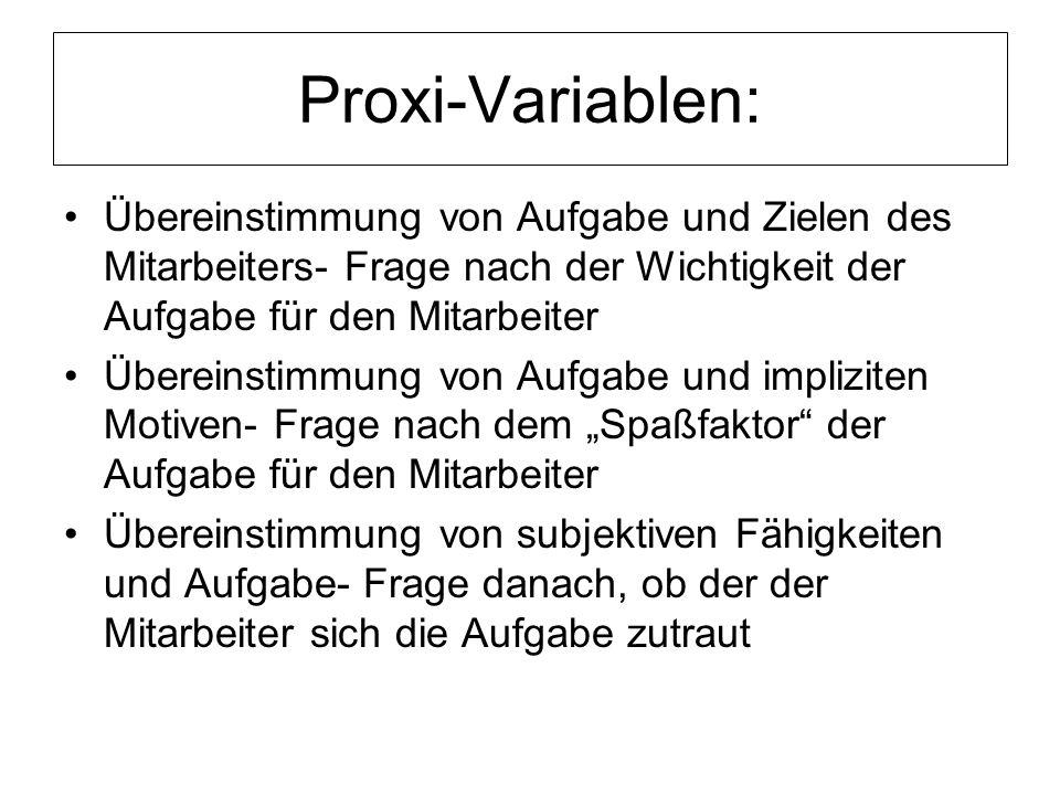 Proxi-Variablen: Übereinstimmung von Aufgabe und Zielen des Mitarbeiters- Frage nach der Wichtigkeit der Aufgabe für den Mitarbeiter.