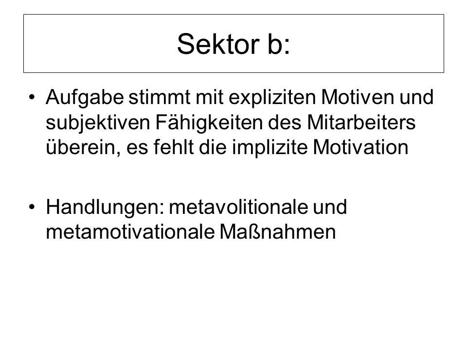 Sektor b: Aufgabe stimmt mit expliziten Motiven und subjektiven Fähigkeiten des Mitarbeiters überein, es fehlt die implizite Motivation.